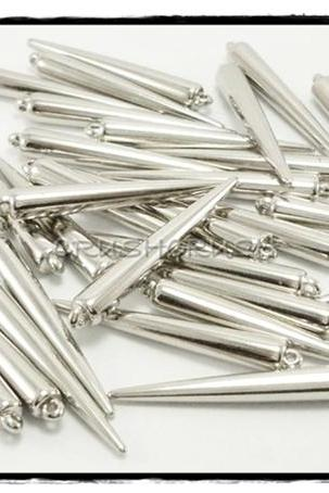 50pcs 1-5/16' (33mm) White Gold Basketball Wives Spikes Charms Pendants Beads X54