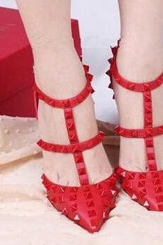 Summer Newest Best Fashion Sexy Rivets Color Red T-belt Hasp Thin Heels