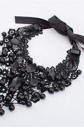 Black Crochet Lace, Pearl and Crystal Bead Statement Choker Necklace