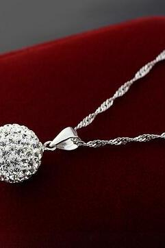 Women Crystal Necklace Chain 925 Sterling Silver Fashion Plated Pendant Jewelry