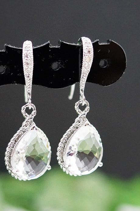 Wedding Jewelry Bridal Earrings Bridesmaid Earrings Cubic Zirconia Ear wires with Clear Glass rhodium Trimmed Pear Cut Earrings