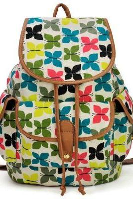 Butterfly colorful school fashion teen girl backpack