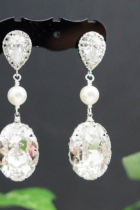 Wedding Bridal Jewelry Bridal Earrings Bridesmaid Earrings Cubic zirconia earrings with Clear White Oval Swarovski Crystal and Pearl drops