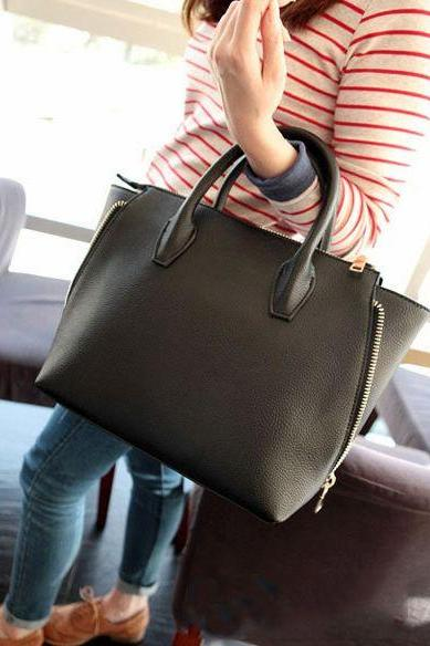 2015 New Arrival Fashion Side Zippers Simple Shell Bag Cheap Black Handbag With Belt For Women