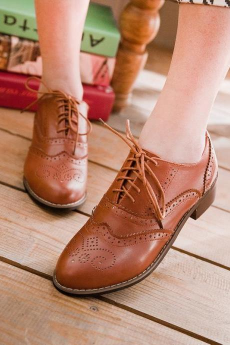 Vintage New Womens Shoes Lace Up Brogues Girls College Oxford Low Flat Heels Brown