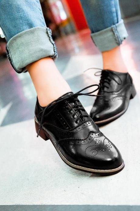 Vintage New Womens Shoes Lace Up Brogues Girls College Oxford Low Flat Heels Black