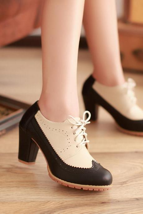 Fashion Women's Preppy Chic Oxford Hollow Splicing Lace Up High Thick Heel Pumps