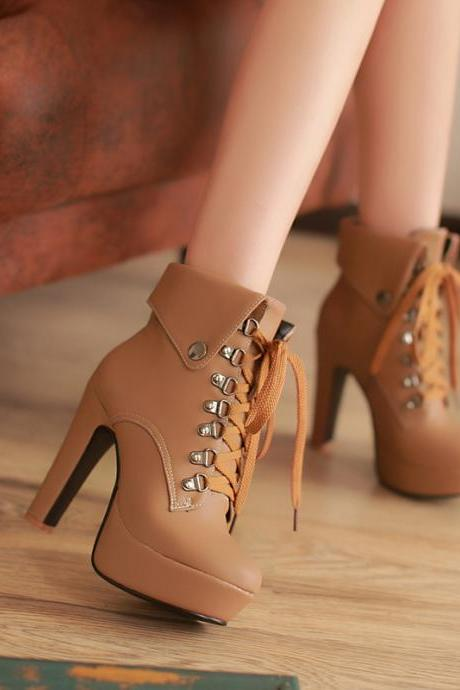 Sexy Womens Lace Up Platform Pumps High Heel Dress Shoes Ankle Boots Plus Size