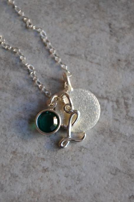 Initial and Birthstone Charm Necklace (Sterling Silver)
