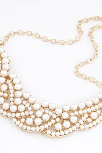 Statement Pendant Chain Crystal Pearl Collar Choker Chunky Necklace Jewelry