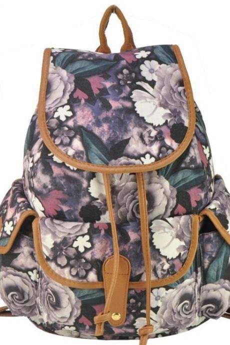Floral bag causal school teen canvas backpack