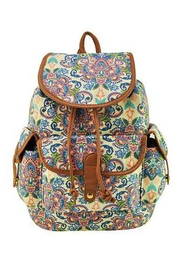 Music festival bag colorful canvas girl backpack