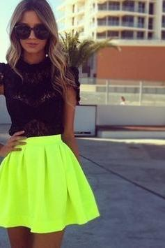 TALL WAIST PURE COLOR FASHION SKIRT