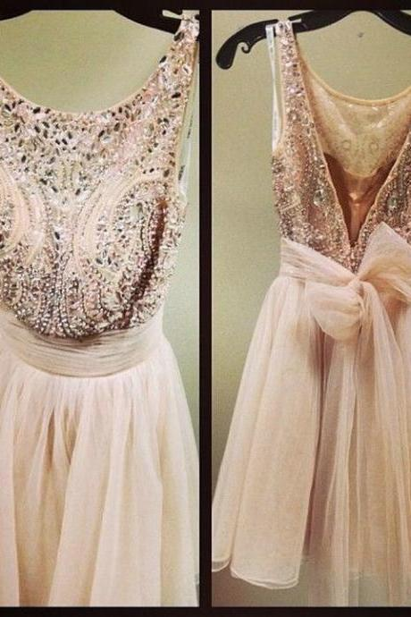 Hot Sale New Luxury Beaded Sexy Prom Dresses 2015,Short Prom Dresses,Open Back Tulle Prom Gowns ,Above Knee, Mini,Custom Dresses