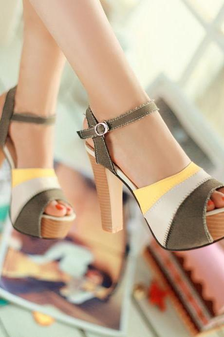 Summer Womens Ankle Strappy Block Heels Platform Color Stitching Peep Toe Shoes