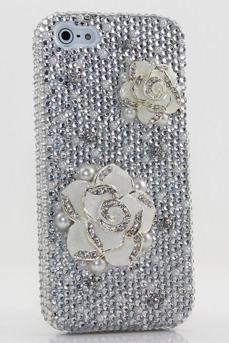 Bling Crystals Phone Case for iPhone 6 / 6s, iPhone 6 / 6s PLUS, iPhone 4, 5, 5S, 5C, Samsung Note 2, Note 3, Note 4, Galaxy S3, S4, S5, S6, S6 Edge, HTC ONE M9 (PLAIN WHITE ROSE DESIGN) By LuxAddiction