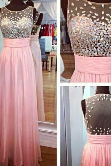 Rhinestone Beading Floor-Length Evening Dresses, Sexy O-Neck Chiffon Prom Dresses, Prom Dresses, Real Made Long Prom Dresses Open Back