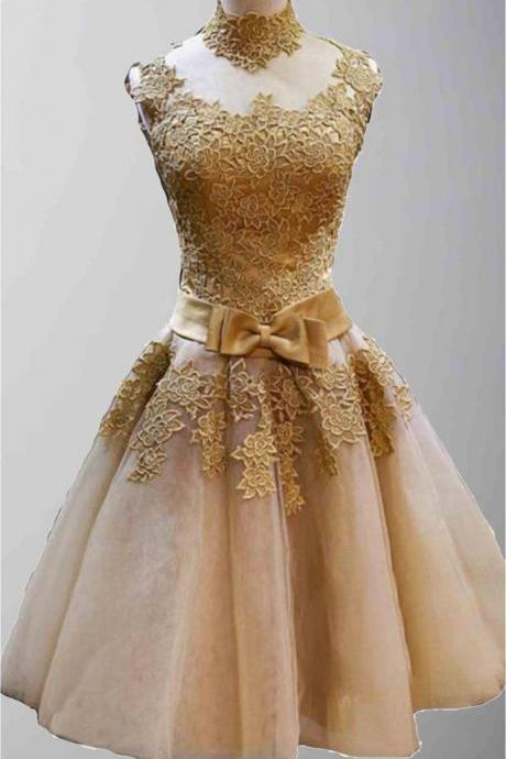 Custom Made Golden Vintage Princess High Neck Short Prom Dresses, Short Graduation Dresses, Cocktail Dresses