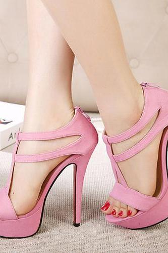 Pink Stiletto High Heel T Strap Fashion Sandals