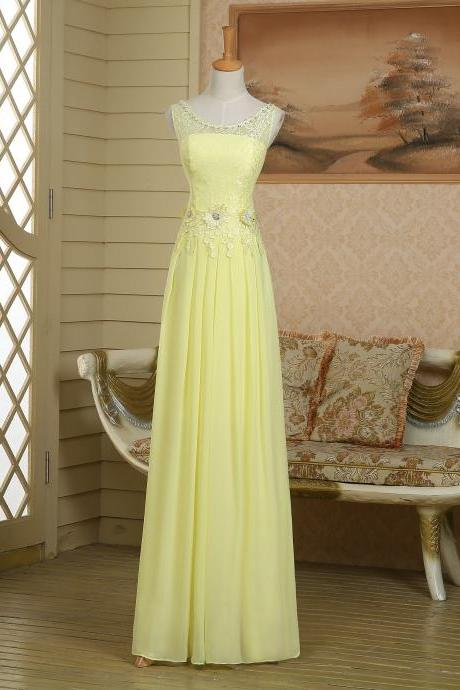 Empire pageant custom modest see-through top yellow chiffon lace long prom dress,evening dress,homecoming dress,party dress,bridesmaid dress wedding,club,cocktail dress,birthday ,graduation dress,pageant dress,woman formal dress