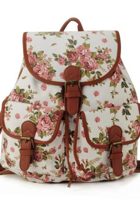 Cute school fashion white floral girl backpack