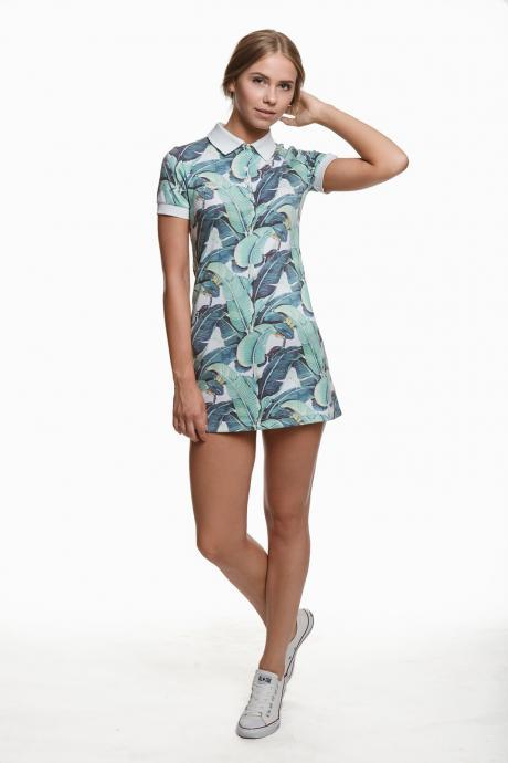 Polo dress TROPIC LEAVES