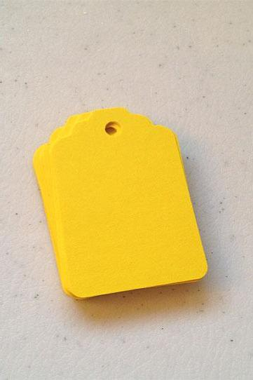25 Bright Yellow Tags 2.75 inches
