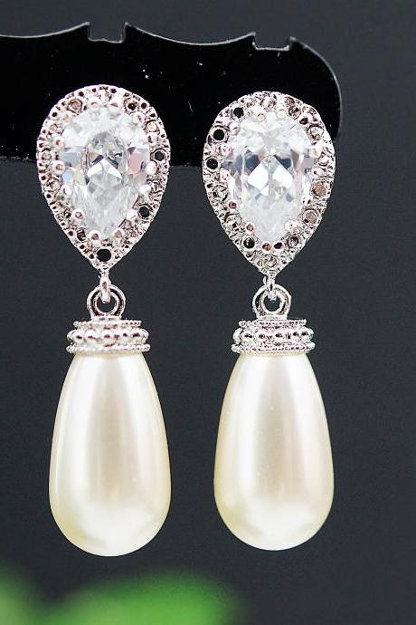 Wedding Jewelry Wedding Earrings Bridal Earrings Bridesmaid Earrings cubic zirconia ear posts with Cream Swarovski Pearl Tear Drop Earrings
