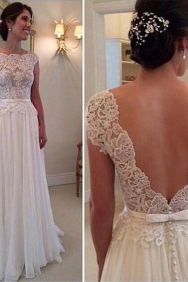 Vintage Lace Chiffon Wedding Dress, A-line Wedding Dress, Long Wedding Dress, Backless Wedding Dresses, Cheap Wedding Gown, Beautiful Wedding Dresses