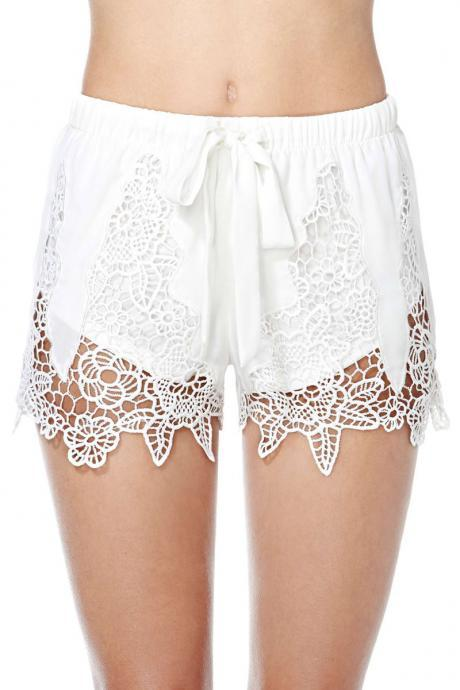 White Lace Appliquéd Elasticised Shorts Featuring Bow Accent