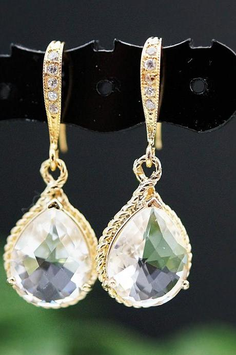 Wedding Jewelry Bridal Earrings Bridesmaid Earrings Cubic Zirconia Ear wires with Clear Glass Gold Trimmed Pear Cut Earrings