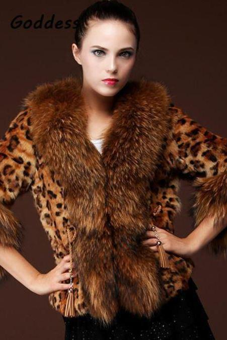 Winter Overcoats Long Leopard Overcoat for Winter Women Brown Leopard Fur Long Jacket