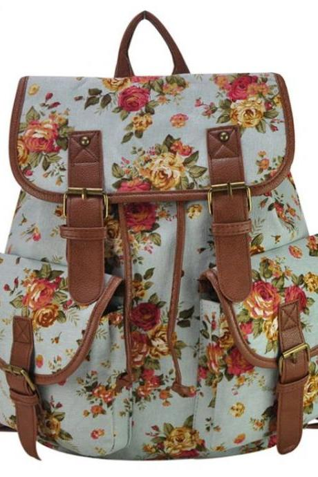 Floral canvas fashion blue camping girl backpack