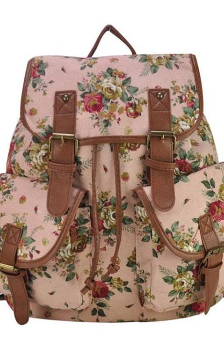 Floral canvas fashion pink camping girl backpack