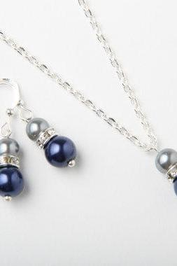 Bridesmaid Bridesmaid jewelry set, Navy and grey earrings and necklace, Navy wedding jewelry, bridesmaid gift, pearl and crystal jewelry set