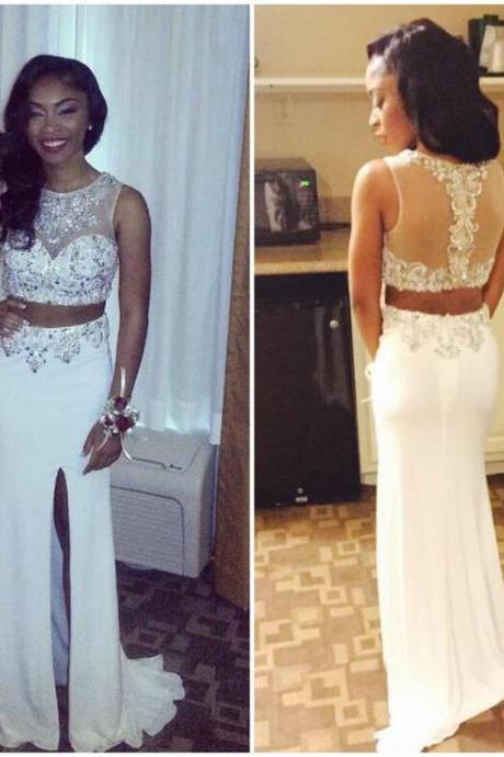 Two Pieces Charming Prom Dresses,The Elegant Beading Floor-Length Evening Dresses, Prom Dresses, Real Made Prom Dresses On Sale