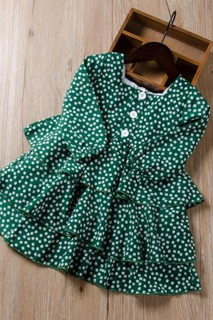 New Clothing Green Dress 3-6 Months Green Floral Dress for Infants 3 months,6 months, 9 months,12 months