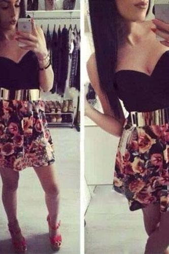 2015 summer Sexy Strapless High Waist Floral Print Dress for women
