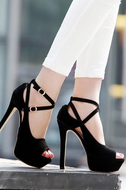 2015 New Lady's Platform Stiletto High Heels Belt Buckle Peep Toe Shoes Sandals