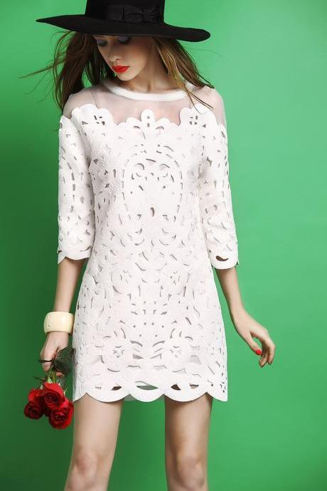 Water soluble slim white dress