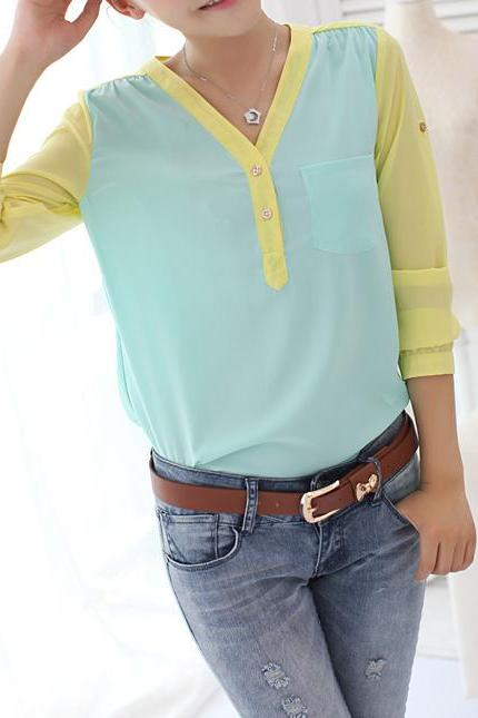 Temperament Long-Sleeved Shirt Contrast Color Chiffon Shirt