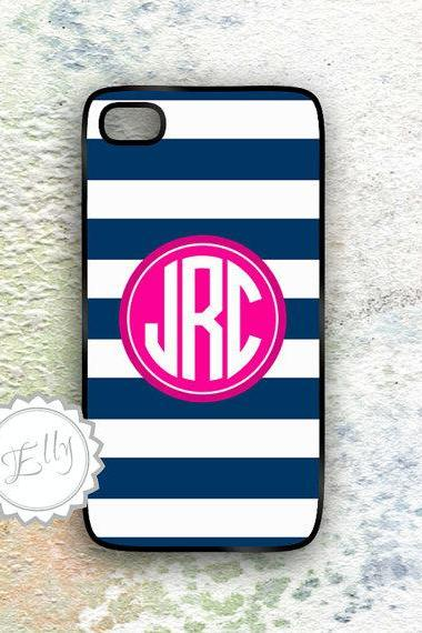 iPhone Case Nautical Design Personalized Navy Stripes and Hot Pink Monogram