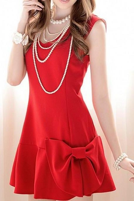 BOWKNOT SHOULDER GIRDLE SLEEVELESS DRESS