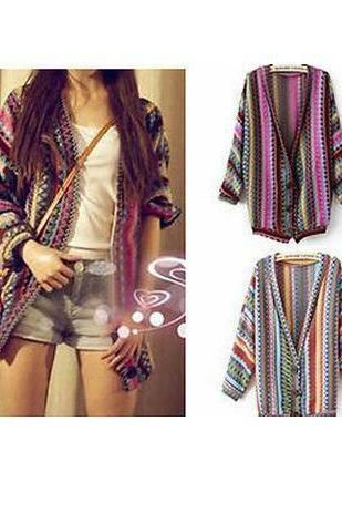 Striped Cardigan Sweater National Wind