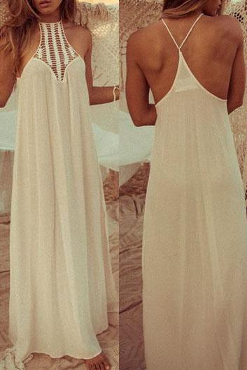 Gorgeous Solid White Bohemian Maxi Dress
