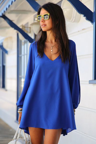 Royal Blue Chiffon Plunge V Long Cuffed Sleeves High Low Shift Dress