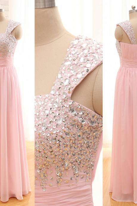 Long Chiffon Crystals Prom Dress