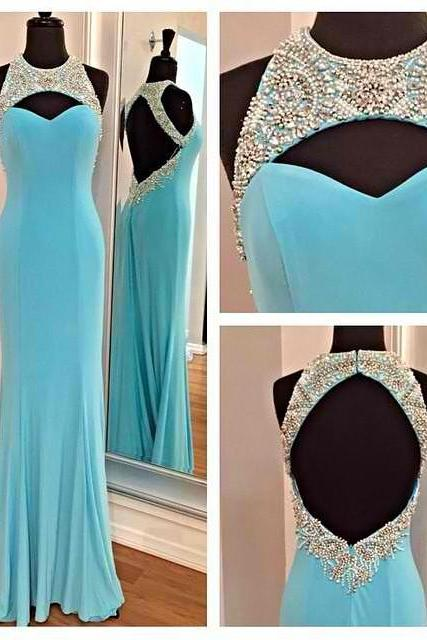 Blue Sexy Prom Dress, Long Prom Dress, Backless Prom Dress, Formal Prom Dress ,Prom Dress 2015, Chiffon Prom Dress, Cheap Prom Dress On Sale