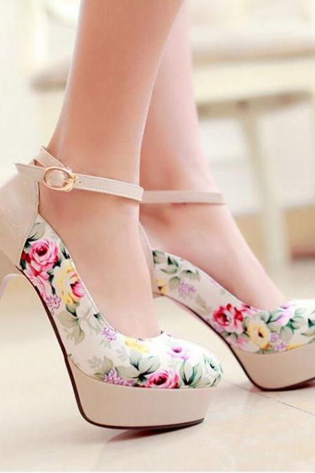 Lovely Flower Print High Heels, Cute High Heels, Women High Heels