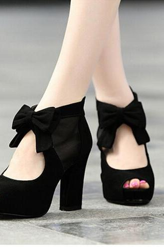 Beautiful And Lovely Black High Heels With Bow, Black High Heels, High Heels